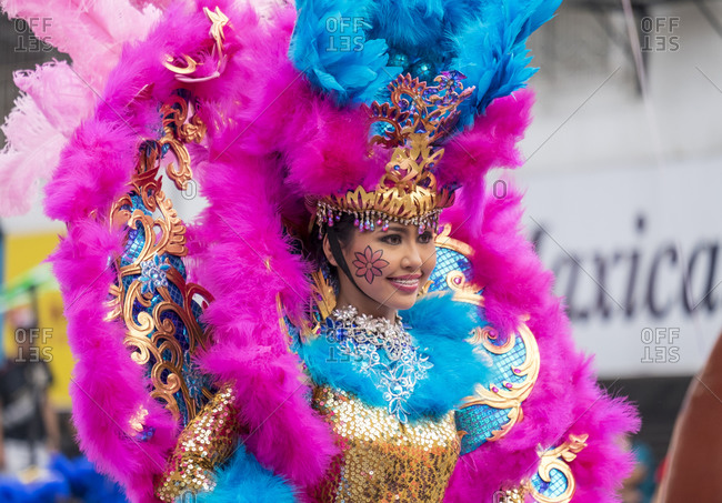 Iloilo City, Western Visayas, Philippines - January 24, 2015: Female dancer in costume at Dinagyang Festival, Iloilo, Philippines