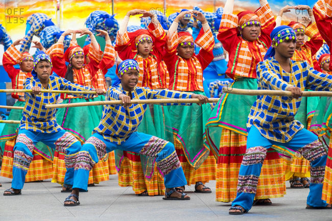 Iloilo City, Western Visayas, Philippines - January 24, 2015: Dancers in costume, Dinagyang Festival, Iloilo, Philippines