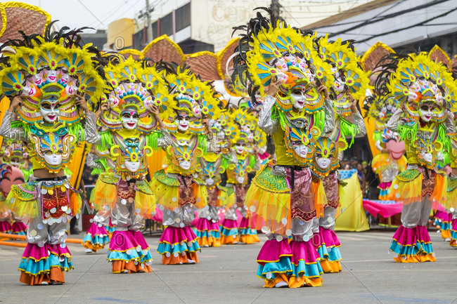 Iloilo City, Western Visayas, Philippines - January 24, 2015: Masskara dancers in costume at Dinagyang Festival, Iloilo, Philippines