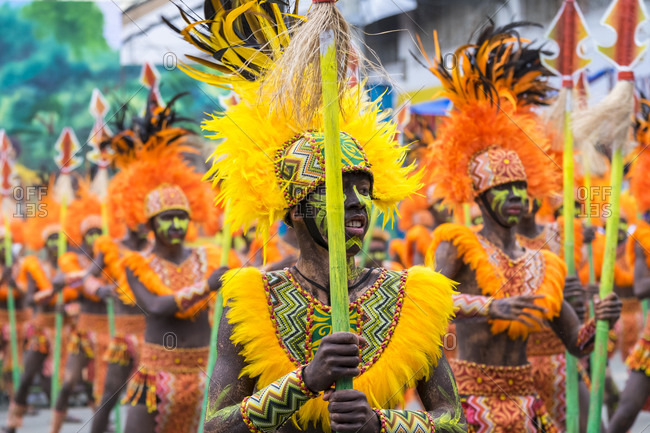 Iloilo City, Western Visayas, Philippines - January 25, 2015: Ati-Warriors in costume, Dinagyang Festival, Iloilo, Philippines
