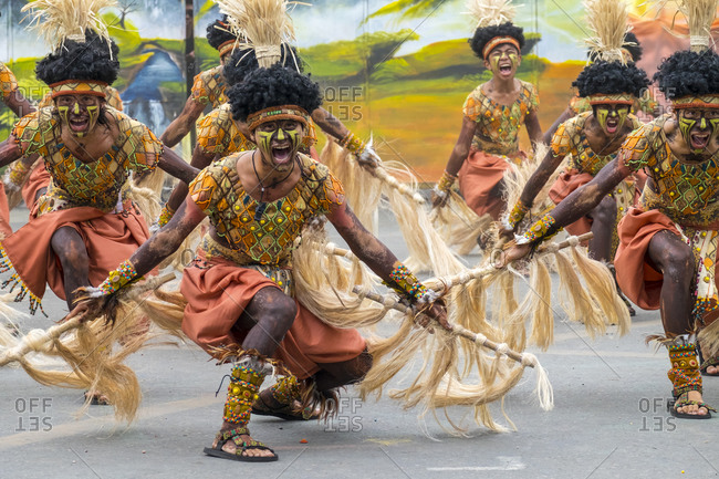 Iloilo City, Western Visayas, Philippines - January 25, 2015: Participants perform at Dinagyang Festival, Iloilo, Philippines