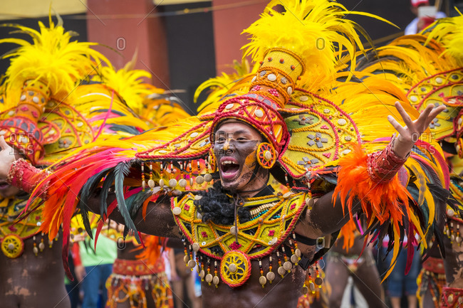 Iloilo City, Western Visayas, Philippines - January 25, 2015: Ati warrior in costume, Dinagyang Festival, Iloilo, Philippines