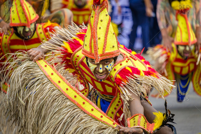Iloilo City, Western Visayas, Philippines - January 25, 2015: Ati warrior in costume at Dinagyang Festival, Iloilo, Philippines