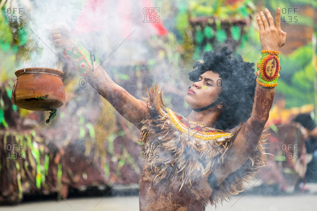 Iloilo City, Western Visayas, Philippines - January 25, 2015: Participant at Dinagyang Festival, Iloilo, Philippines