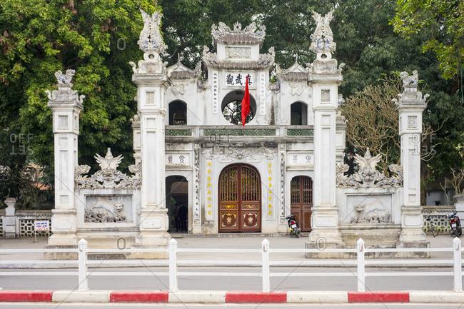 Hanoi, Vietnam - February 2, 2015: Quan Thanh Temple (Den Quan Thanh) gate, Hanoi, Vietnam