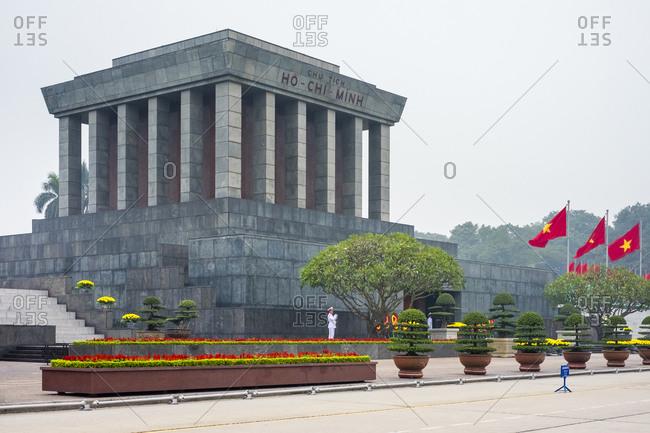 Hanoi, Vietnam - February 3, 2015: Ho Chi Minh Mausoleum on Ba Dinh Square, Hanoi, Vietnam