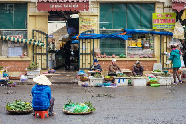 Hanoi, Vietnam - February 4, 2015: Dong Xuan Market, Hoan Kiem Old Quarter, Hanoi, Vietnam