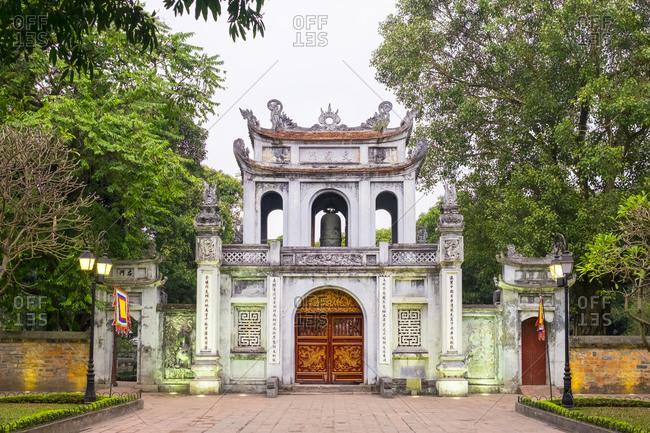 Hanoi, Vietnam - February 5, 2015: Temple of Literature gate at dusk, Hanoi, Vietnam