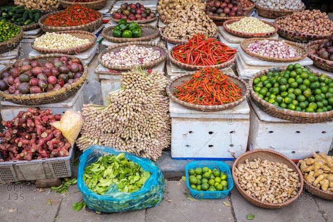 Hanoi, Vietnam - February 6, 2015: Vegetables for sale at street market in Hanoi, Vietnam