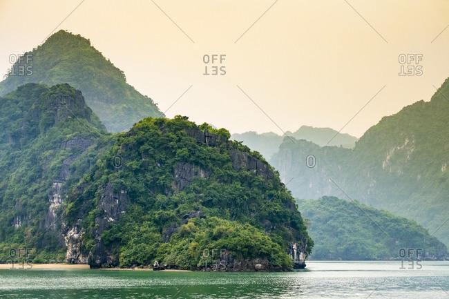 Karst mountain landscape in Ha Long Bay, Vietnam