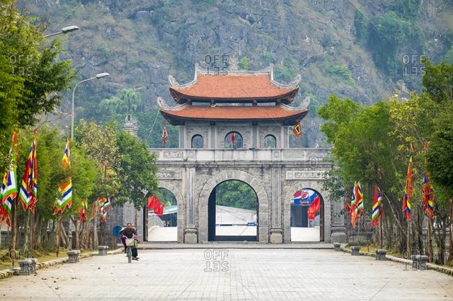 Hoa Lu, Ninh Bahn Province, Vietnam - February 12, 2015: Gateway to Hoa Lu ancient capital, Ninh Binh Province, Vietnam
