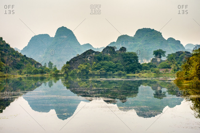 Hoa Lu, Ninh Bahn Province, Vietnam - February 13, 2015: Karst mountain landscape, Ninh Binh, Vietnam