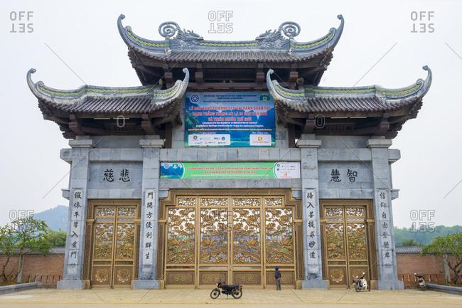Gia Vien, Ninh Bahn Province, Vietnam - February 13, 2015: Bai Dinh Temple gate, Ninh Binh Province, Vietnam