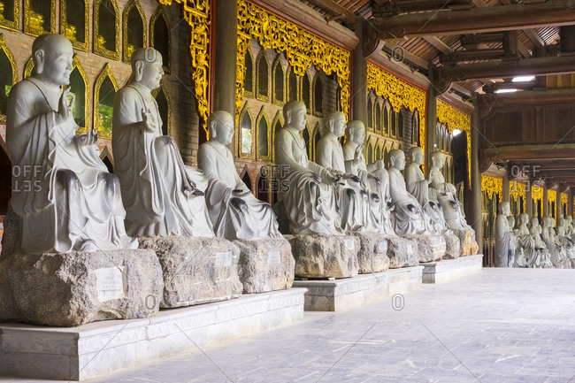 Gia Vien, Ninh Bahn Province, Vietnam - February 13, 2015: Arhat statues at Bai Dinh Temple, Ninh Binh Province, Vietnam