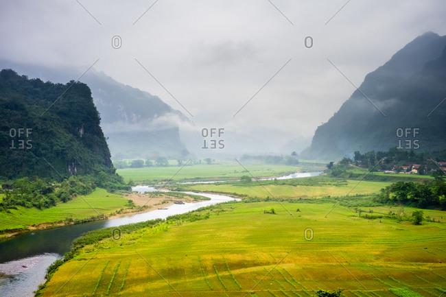 Foggy landscape on Ho Chi Minh Highway West, Vietnam