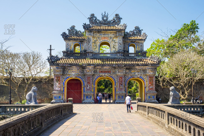 Hue, Thua Thien Hue, Vietnam - February 23, 2015: Hien Nhon Gate entrance to Imperial City, Hue, Vietnam