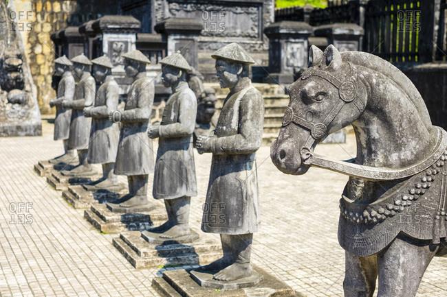 Stone statues at Tomb of Khai Dinh, Hue, Vietnam