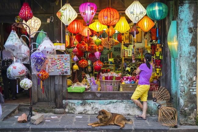 Hoi An, Quang Nam Province, Vietnam - March 4, 2015: Shop selling silk lanterns in Hoi An, Vietnam