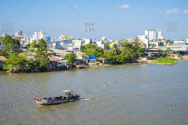 Can Tho, Vietnam - March 25, 2015: City of Can Tho on the Mekong River, Vietnam