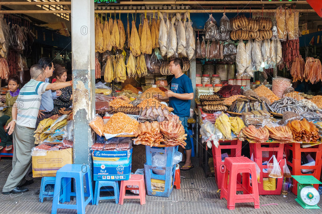 Phnom Penh, Cambodia - April 4, 2015: Dried fish and seafood for sale at market, Phnom Penh, Cambodia