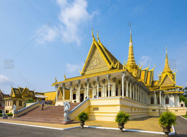 Phnom Penh, Cambodia - April 6, 2015: Throne Hall of the Royal Palace, Phnom Penh, Cambodia