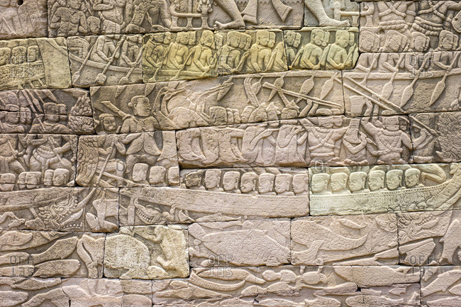 Stone carvings depicting a sea battle, Banteay Chhmar, Cambodia