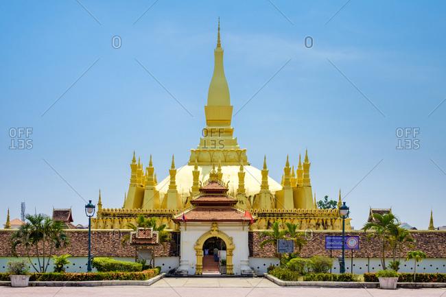 Vientiane, Vientiane Prefecture, Laos - May 5, 2015: Pha That Luang golden stupa, Vientiane, Laos
