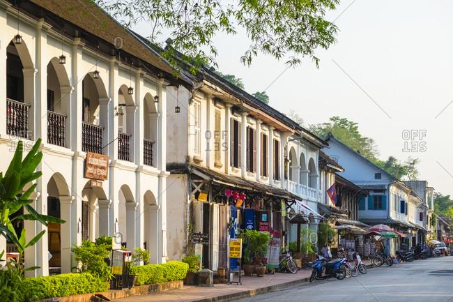 Luang Prabang, Luang Prabang Province, Laos - May 10, 2015: French colonial style buildings, Luang Prabang, Laos
