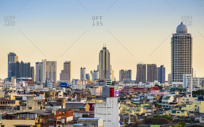 Bangkok, Thailand - May 19, 2015: Bangkok Skyline seen from the Goden Mount, Bangkok, Thailand