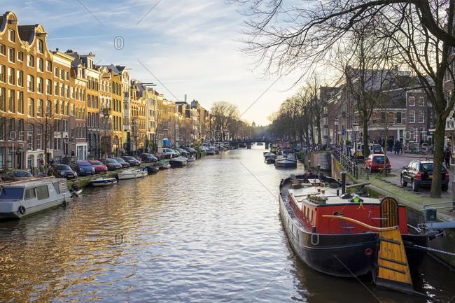 Amsterdam, North Holland, Netherlands - December 28, 2015: Prinsengracht canal, Amsterdam, North Holland, Netherlands
