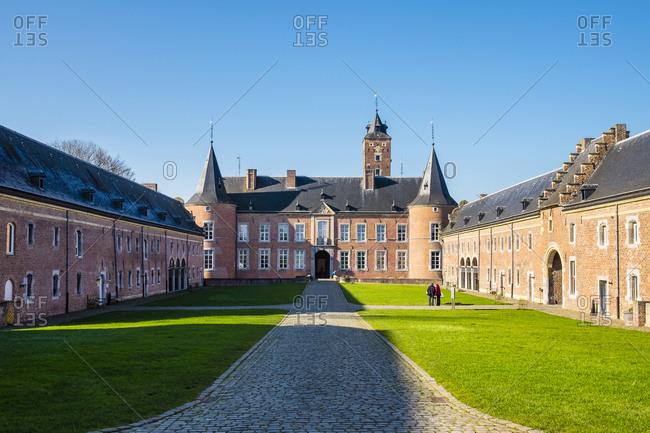 Bilzen, Flanders, Belgium - February 16, 2016: Kasteel Alden Biesen castle, Bilzen, Limburg, Flanders, Belgium