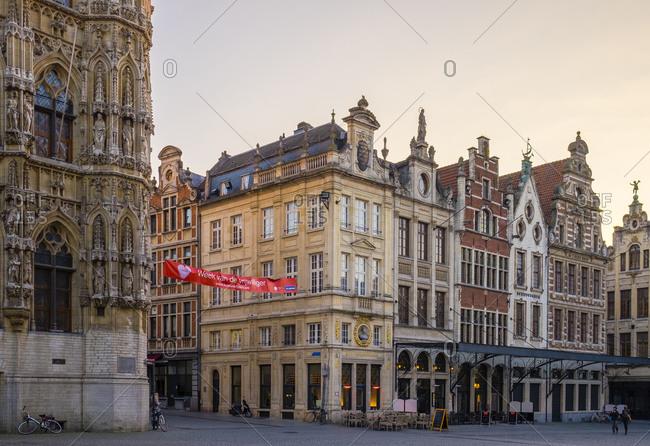 Leuven, Flanders, Belgium - March 13, 2016: Flemish buildings on Grote Markt, Leuven, Flemish Brabant, Flanders, Belgium