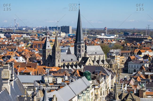 Ghent, Flanders, Belgium - April 10, 2016: View of Ghent old town from Het Belfort van Gent, Ghent, Belgium