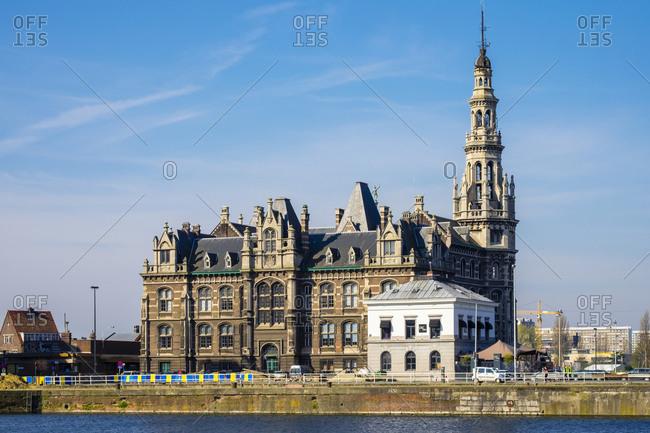 Antwerp, Flanders, Belgium - April 11, 2016: Loodsgebouw, Pilotage Building on the Scheldt River, Antwerp, Belgium