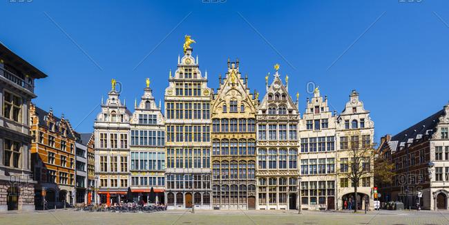 Antwerp, Flanders, Belgium - April 20, 2016: Medieval guild houses on Grote Markt, Antwerp, Belgium