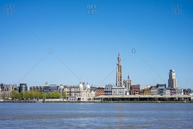 Antwerp, Flanders, Belgium - April 20, 2016: Buildings and skyline on the Scheldt River, Antwerp, Belgium