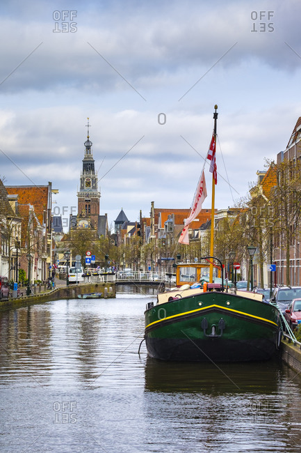 Alkmaar, North Holland, Netherlands - April 22, 2016: Buildings along the Luttik Oudorp canal, Alkmaar, Netherlands