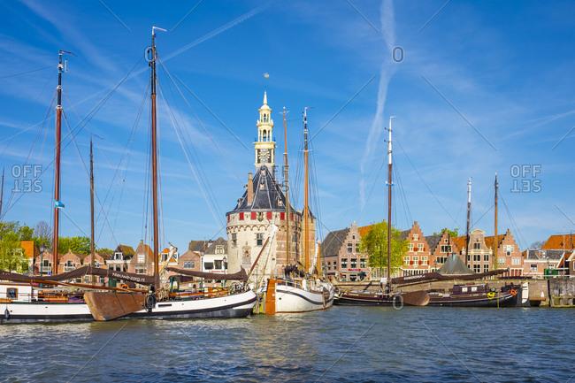Hoorn, North Holland, Netherlands - May 5, 2016: Hoofdtoren and boats in the harbor, Hoorn, North Holland, Netherlands