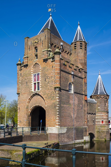 Haarlem, North Holland, Netherlands - May 6, 2016: The Amsterdamse Poort former 14th century city gate, Haarlem, North Holland, Netherlands