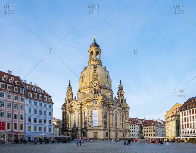 Dresden, Saxony, Dresden - May 21, 2016: Dresdner Frauenkirche (Church of Our Lady) and buildings on the Neumarkt, Desden, Saxony, Germany