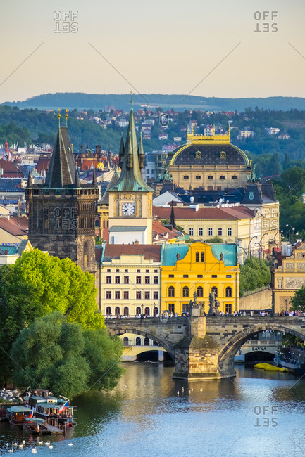 Prague, Czech Republic - May 22, 2016: Charles Bridge and buildings in Mala Strana Old Town from Letna Park, Prague, Czech Republic