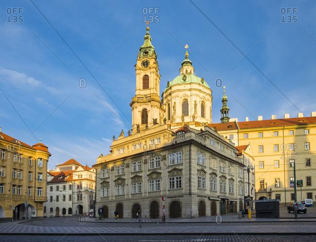 Prague, Czech Republic - May 23, 2016: Church of Saint Nicholas (Kostel svateho Mikulase) on Malostranska Namesti square, Prague, Czech Republic