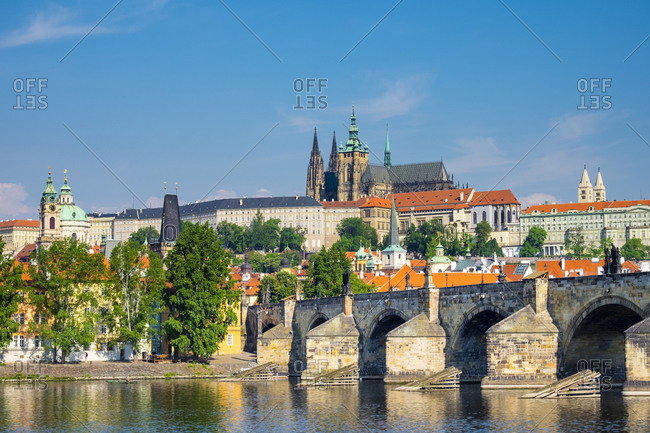 Prague, Czech Republic - May 23, 2016: Prague Castle (Prazsky Hrad), on the Vltava River, Prague, Czech Republic