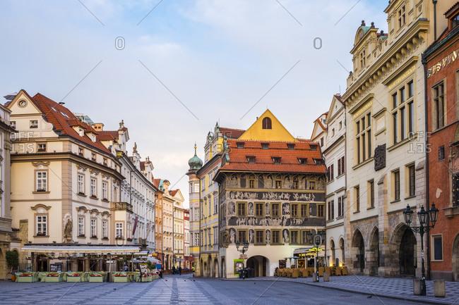 Prague, Czech Republic - May 23, 2016: Staromestske namesti, Old Town Square at dawn, Prague, Czech Republic