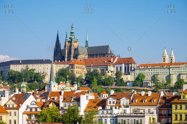 Prague, Czech Republic - May 23, 2016: Prague Castle (Prazsky hrad), and buildings in Mala Strana, Prague, Czech Republic