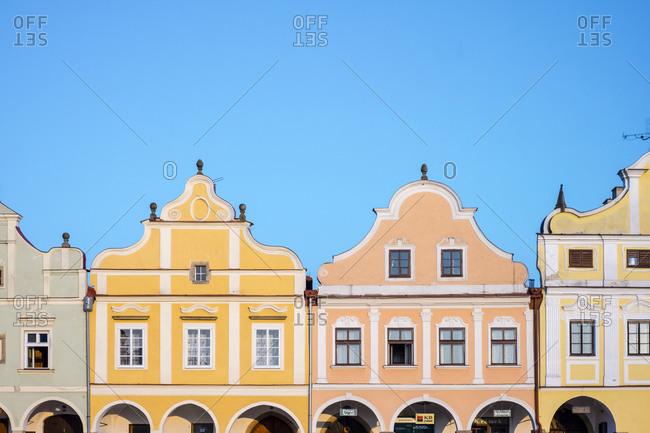 Telc, Vysocina Region, Czech Republic - May 25, 2016: Renaissance and Baroque houses on Namesti Zachariase z Hradce square, Telc, Vysocina Region, Czech Republic
