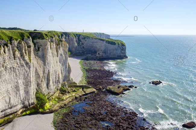 White chalk cliffs on the coast of the English Channel, Etretat, Seine-Maritime department, Normandy, France