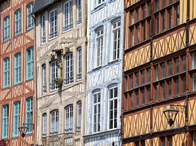 Half-timbered buildings in the old quarter, Rouen, Normany, France