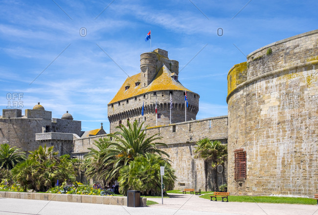 Medieval fortified Chateau Saint-Malo castle, Saint-Malo, Brittany, France