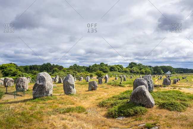 Neolithic standing stones at Alignements de Carnac (Carnac Stones), Brittany, France
